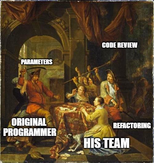 meme. Painting, men and women fighting, Original Programmer, His team, code review, Parameters, refactoring