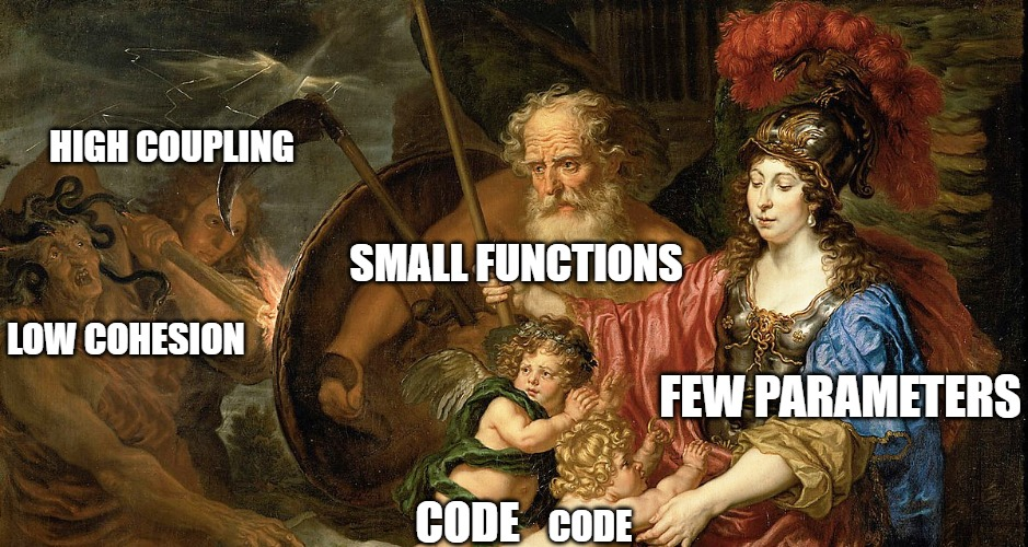 programming meme; painting; Few parameters and small functions protecting against low cohesion and high coupling