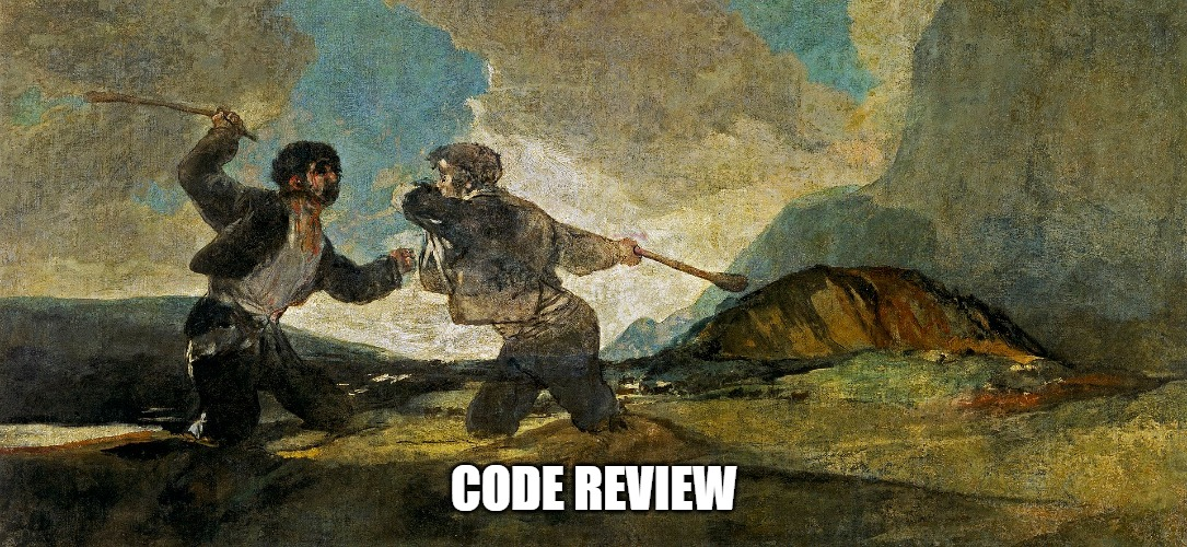 meme; Code review, two people fighting