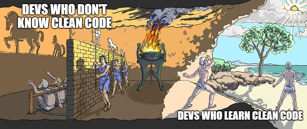 meme; Plato's allegory of the cave. On the left, devs who don't know clean code, on the right devs who learn clean code.