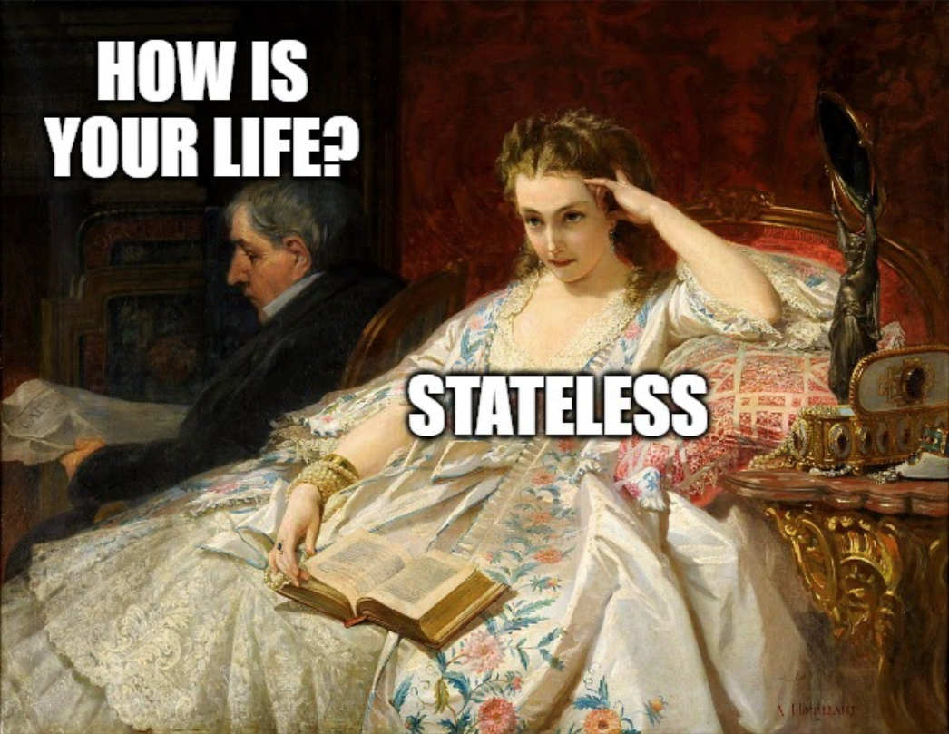 meme; painting man and woman; how is life? stateless